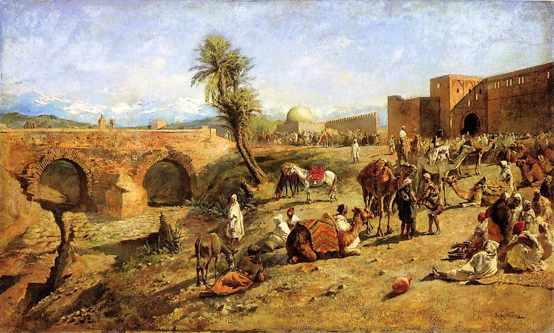 Arrival of a Caravan Outside The City of Morocco c.1882 | Edwin Lord Weeks | oil painting