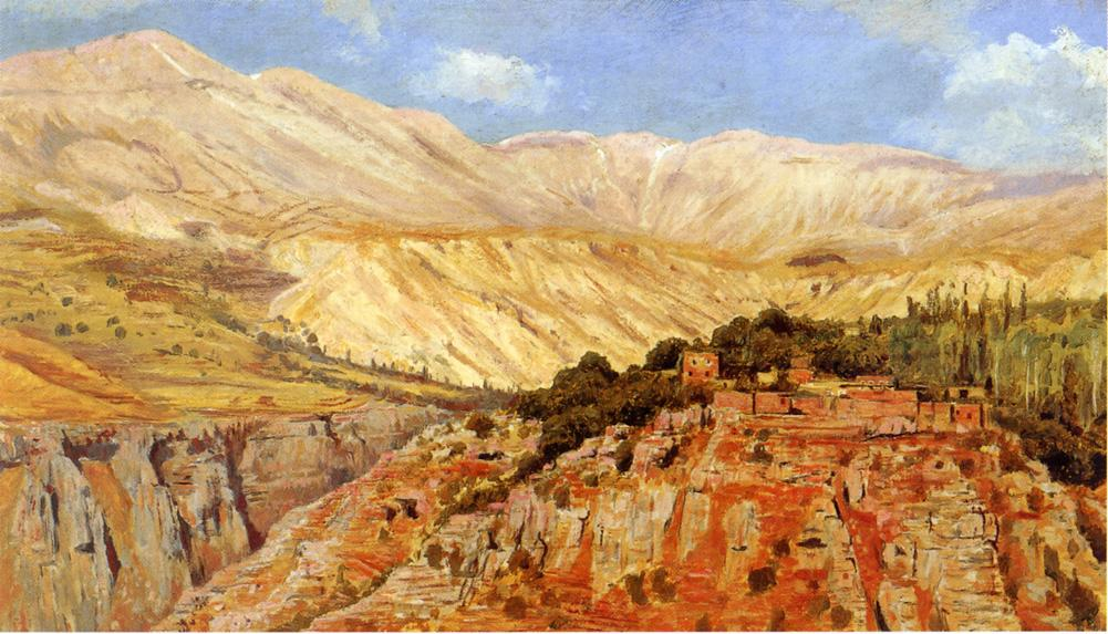 Village in Atlas Mountains Morocco | Edwin Lord Weeks | oil painting