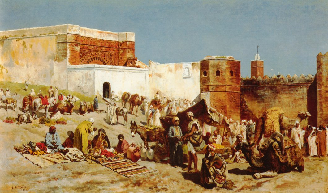 Open Market Morocco 1880 | Edwin Lord Weeks | oil painting