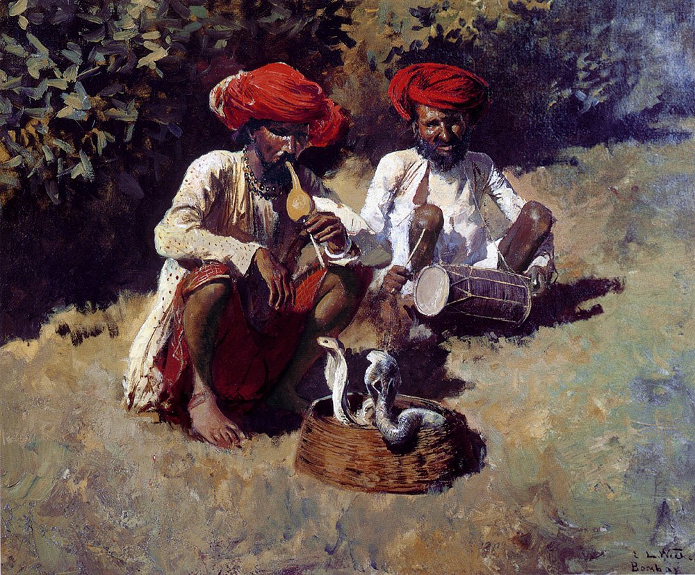 The Snake Charmers Bombay | Edwin Lord Weeks | oil painting