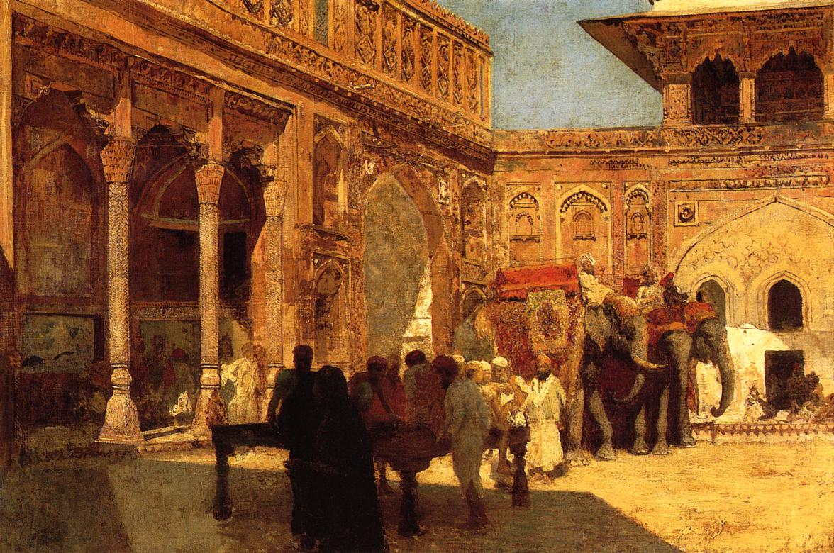 Elephants and Figures in a Courtyard Fort Agra c.1890 1899 | Edwin Lord Weeks | oil painting