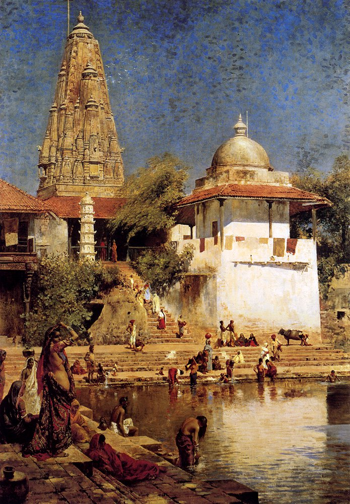 The Temple And Tank Of Walkeshwar At Bombay c.1884 | Edwin Lord Weeks | oil painting