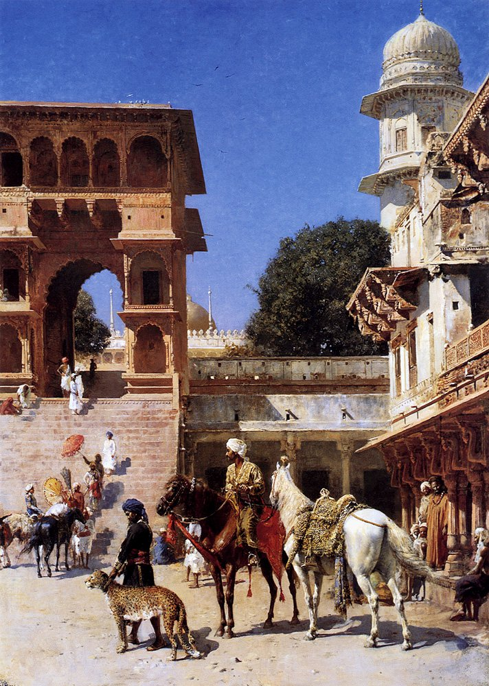 Departure For The Hunt | Edwin Lord Weeks | oil painting