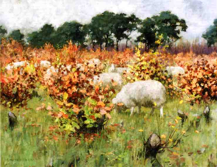 Grazing Sheep Date unknown | George Hitchcock | oil painting
