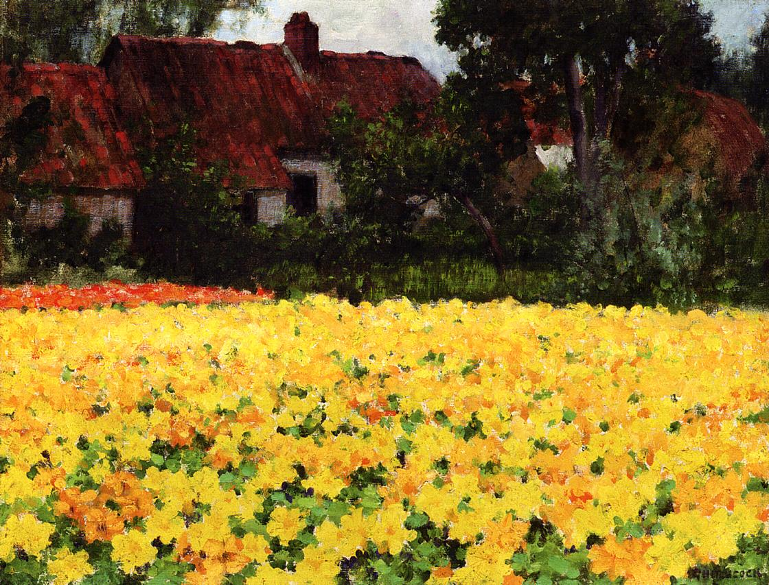 Yellow Nasturtiums Date unknown | George Hitchcock | oil painting
