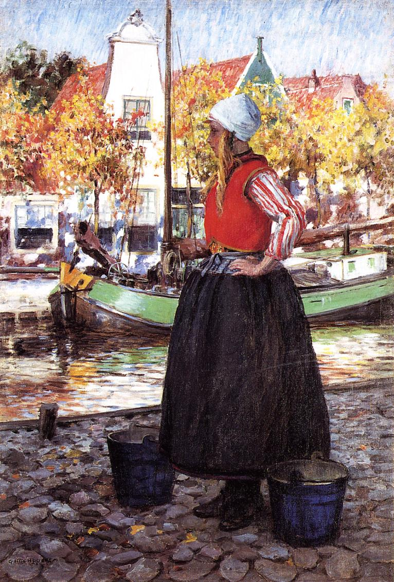Woman Along Canal aka A Young Dutch Girl Date unknown | George Hitchcock | oil painting