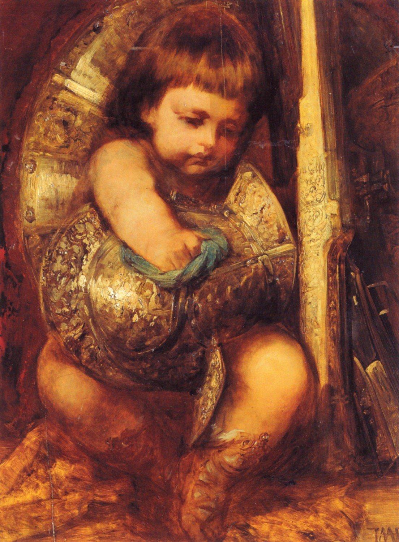 Ein Putto reinigt die Waffen des Mars 1870 | Hans Makart | oil painting