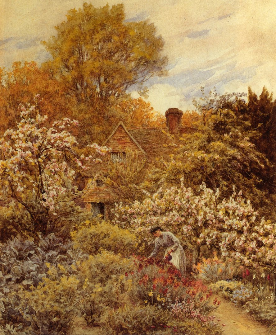 A Spring Garden Date unknown | Helen Allingham | oil painting