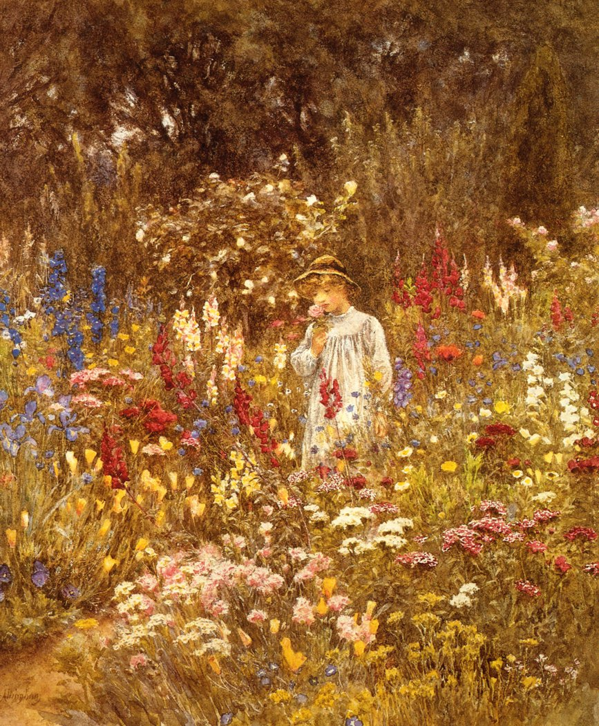 A Cottage Garden Date unknown | Helen Allingham | oil painting