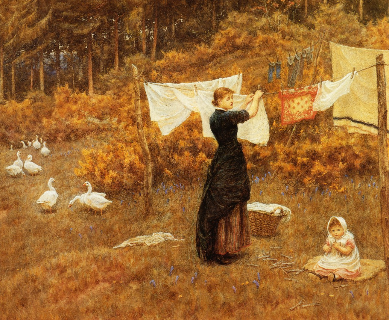 The Clothes Line Date unknown | Helen Allingham | oil painting