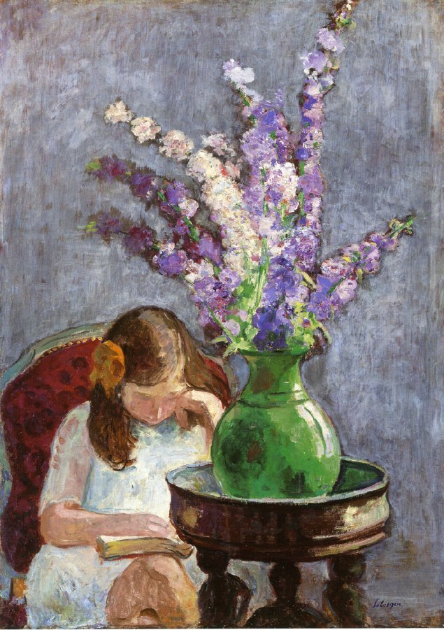 Girl with Flowers 1909   Henri Lebasque   oil painting