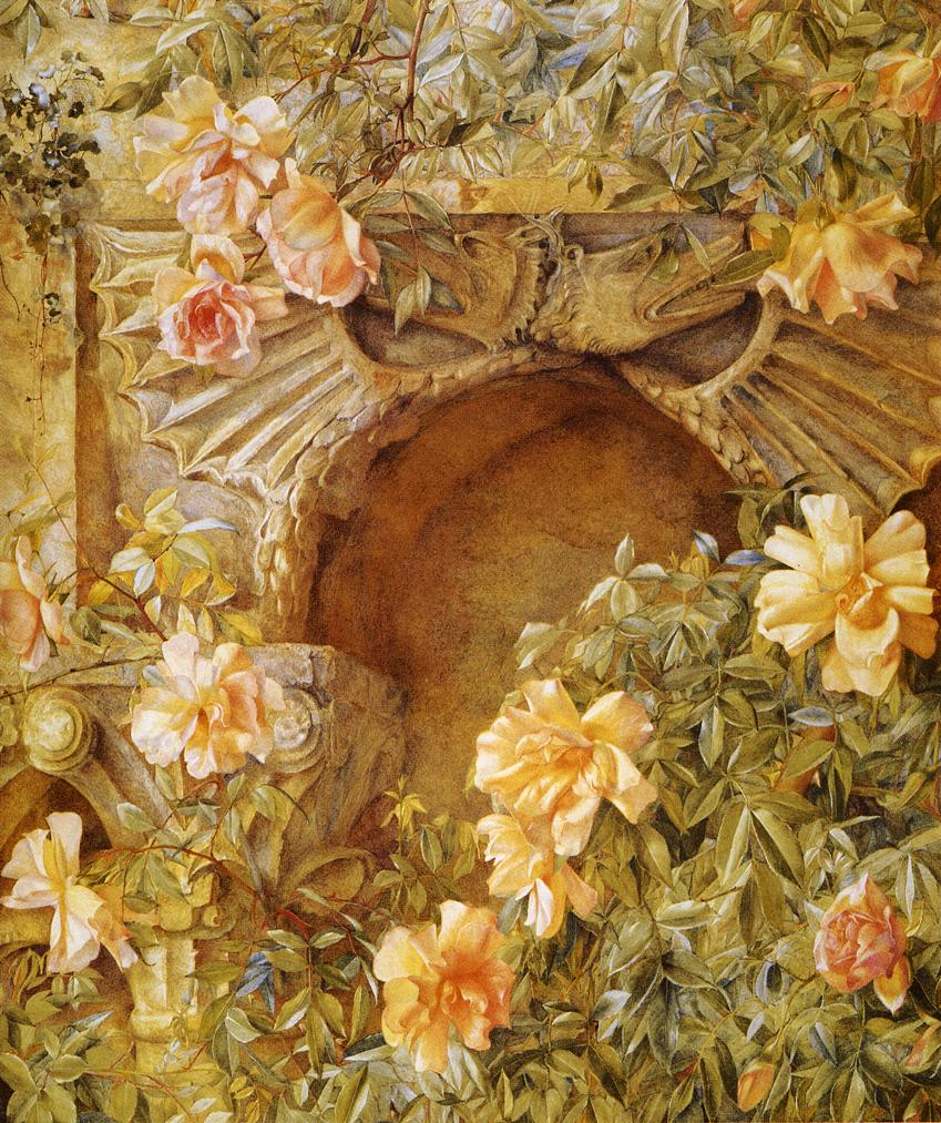 Italian Grotto (aka Roses and Dragons) 1886 | Henry Roderick Newman | oil painting