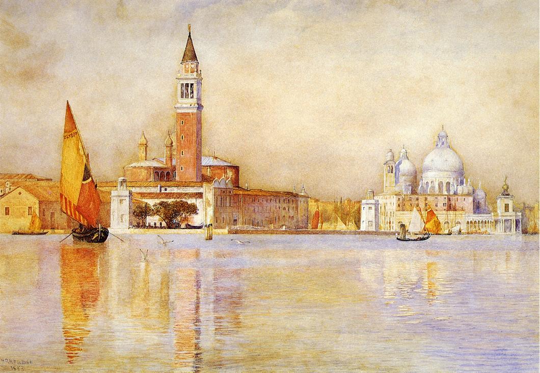 San Giorgio Maggiore and Santa Maria della Salute from the Giardino Publico 1911 | Henry Roderick Newman | oil painting