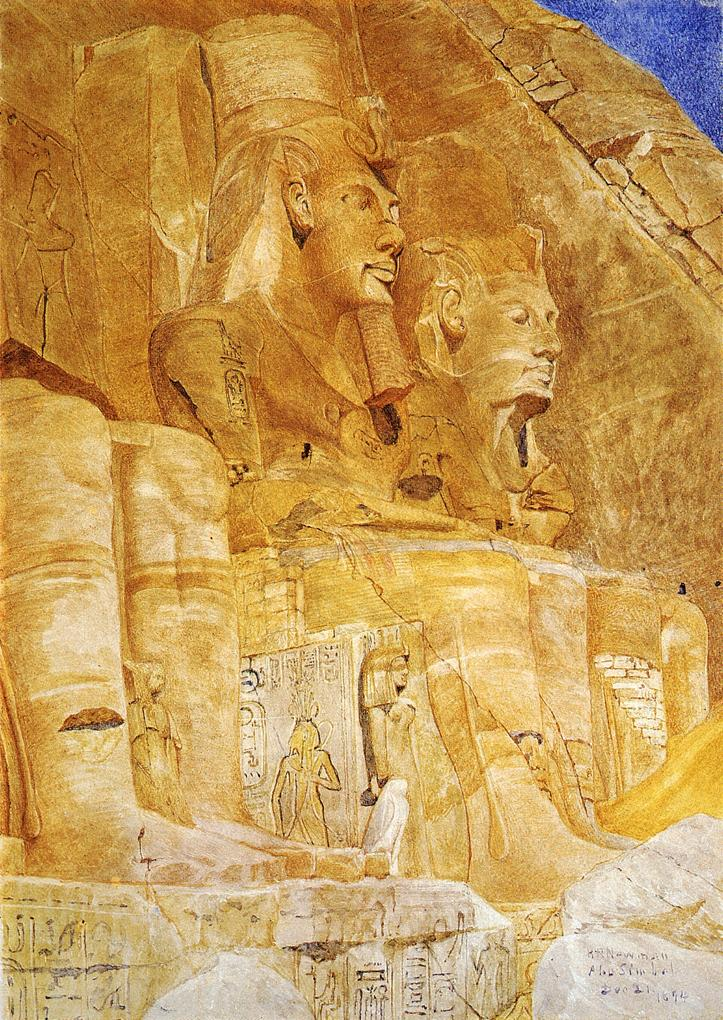 The Third and Fourth Figures at Abu Simbel 1894 | Henry Roderick Newman | oil painting