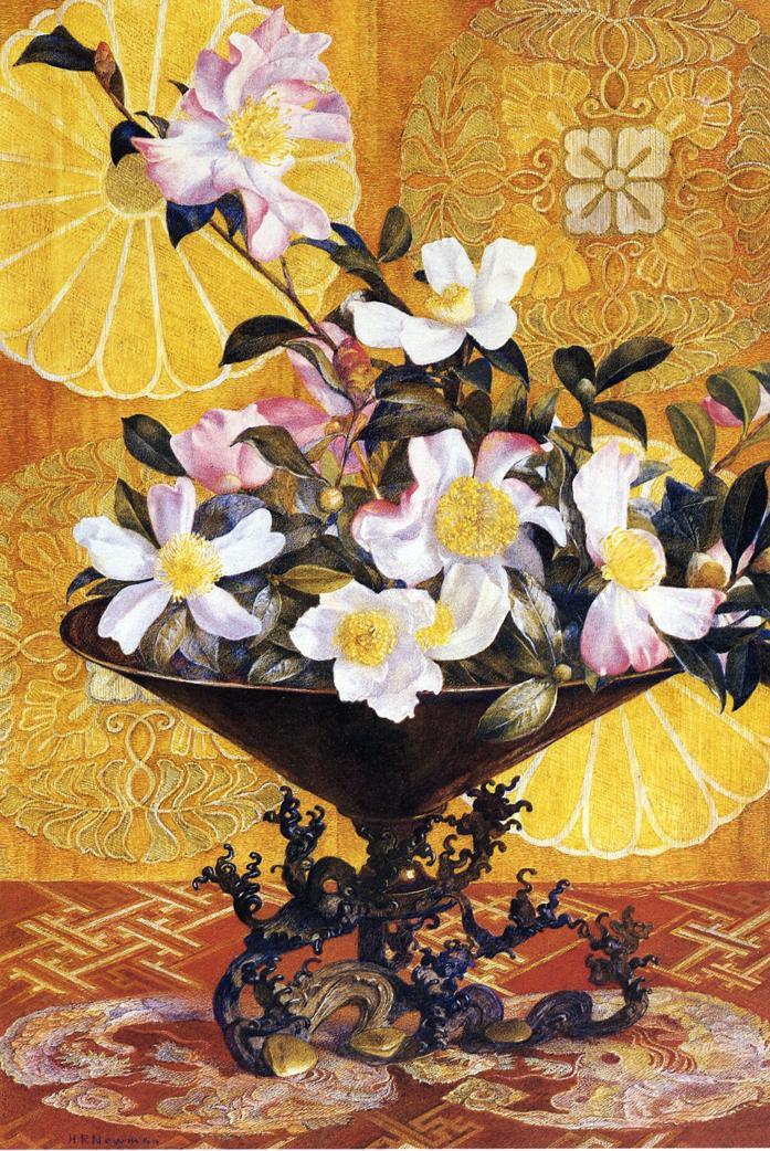 Sazanqua Wild Tea Yokohama (aka Oriental Still Life) 1898 | Henry Roderick Newman | oil painting