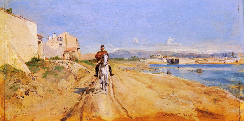 Self Portrait Along The Route De La Salice Antibes | Jean Louis Ernest Meissonier | oil painting