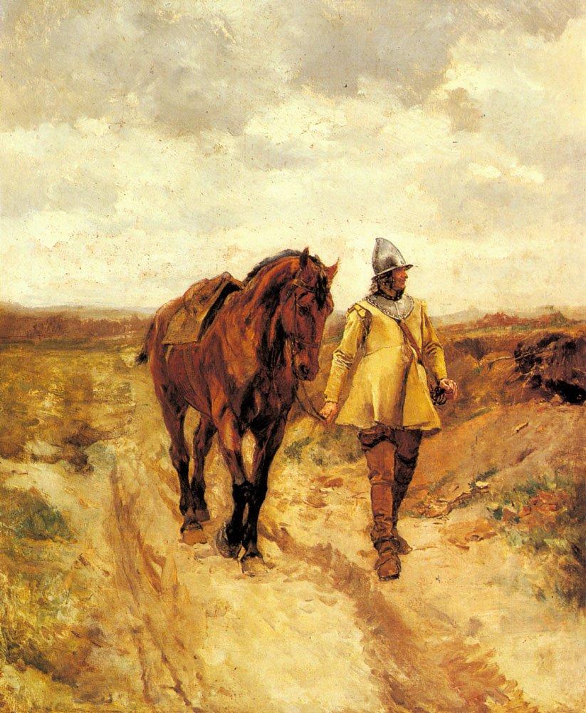 Un Homme d armes et son cheval | Jean Louis Ernest Meissonier | oil painting