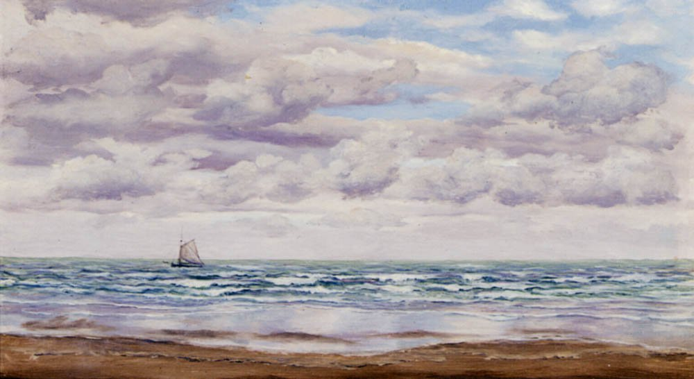 Gathering Clouds A Fishing Boat Off The Coast | John Brett | oil painting