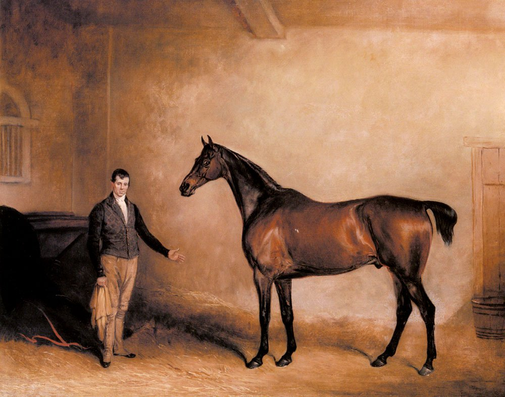 Mr C N Hoggs Claxton and a Groom in a Stable | John Ferneley Snr | oil painting