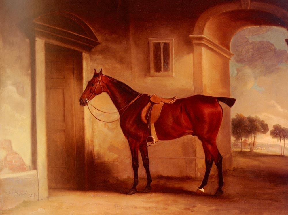 A Saddled Bay Hunter In A Stableyard | John Ferneley Snr | oil painting