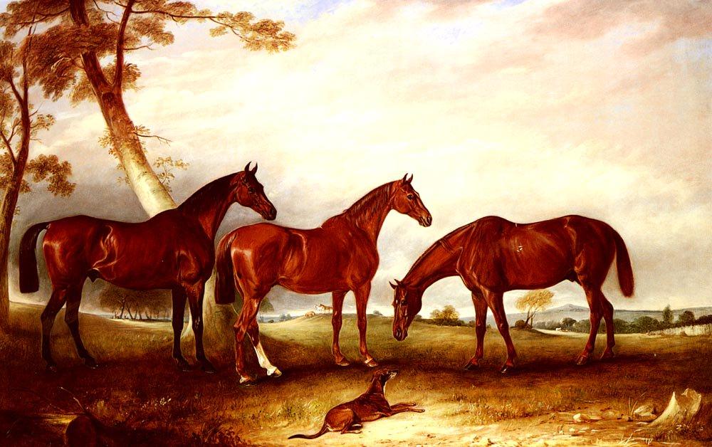 Marvel KingFisher And The Lad Three Hunters Belonging To William Angerstein In A Field With His Dog Spring | John Ferneley Snr | oil painting