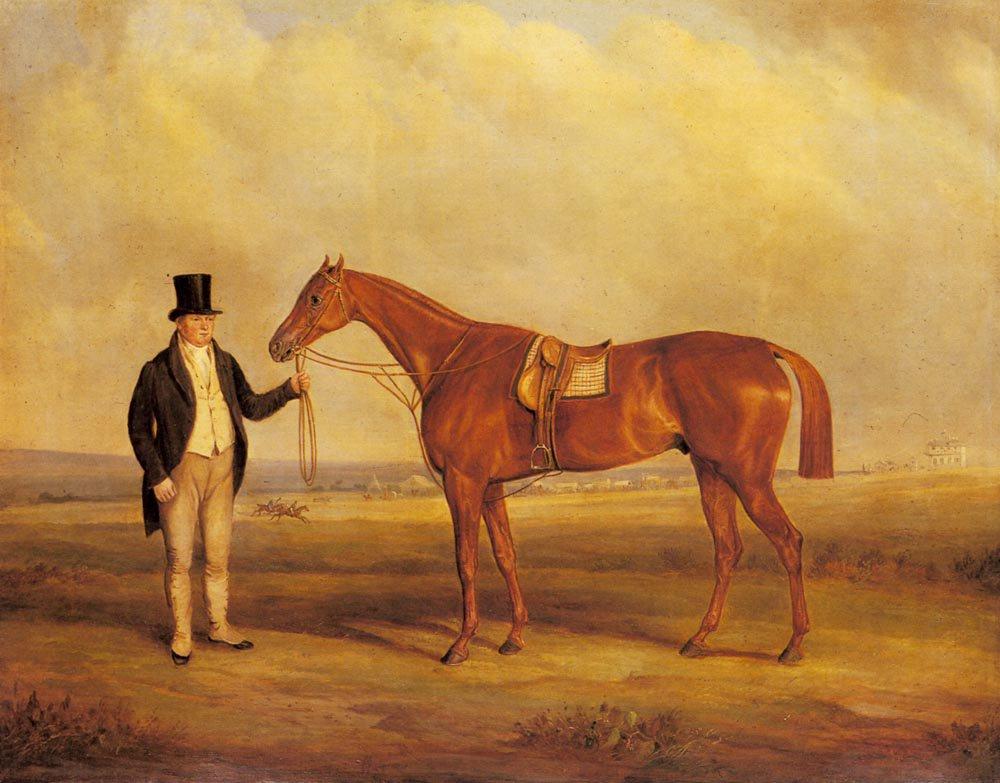 A Gentleman Holding Dangerous the Winner of the 1833 Derby | John Ferneley Snr | oil painting