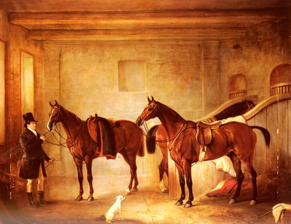 Sir John Thorolds Bay Hunters With Their Groom In A Stable | John Ferneley Snr | oil painting