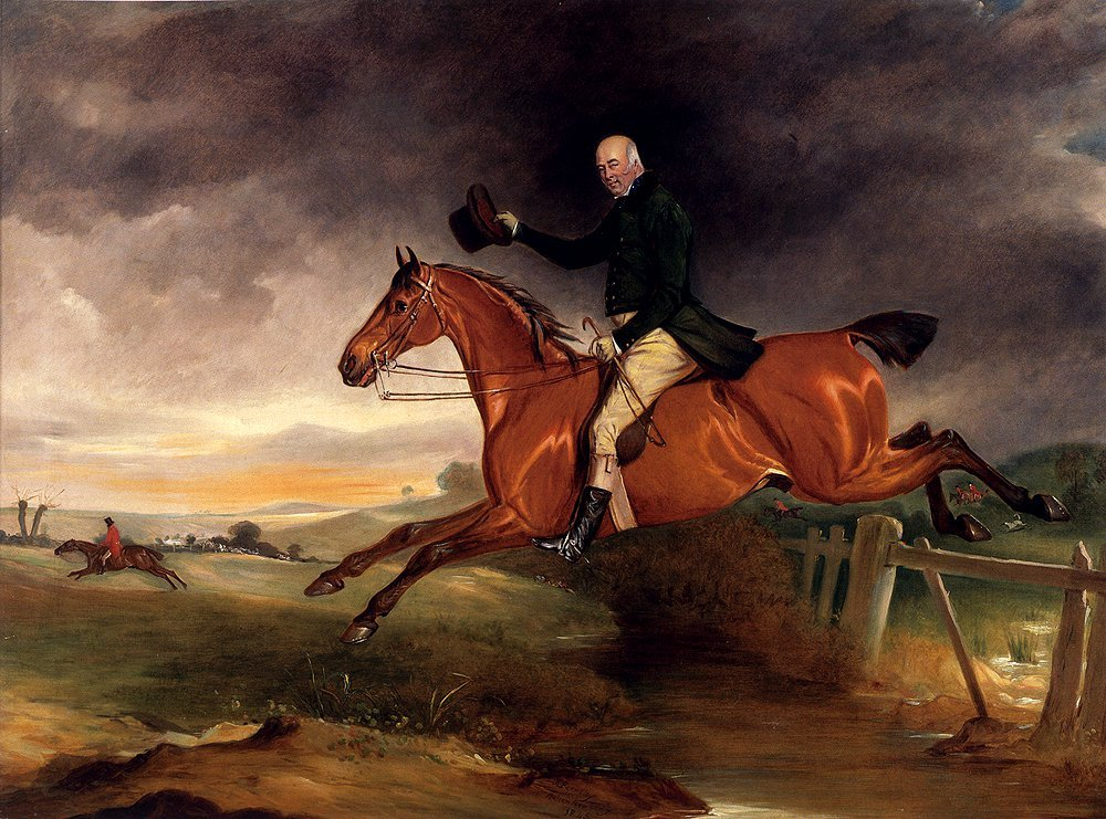 Mr George Marriott On His Bay Hunter Taking A Fence | John Ferneley Snr | oil painting