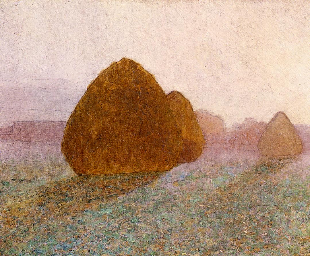 Haystack at Giverny Normandy Sun Dispelling Morning Mist 1891 | John Leslie Breck | oil painting