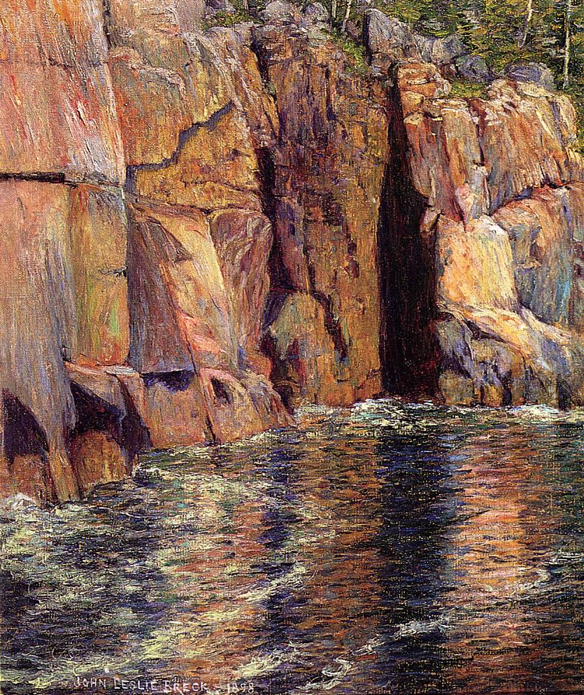The Cliffs at Ironbound Island Maine 1898 | John Leslie Breck | oil painting