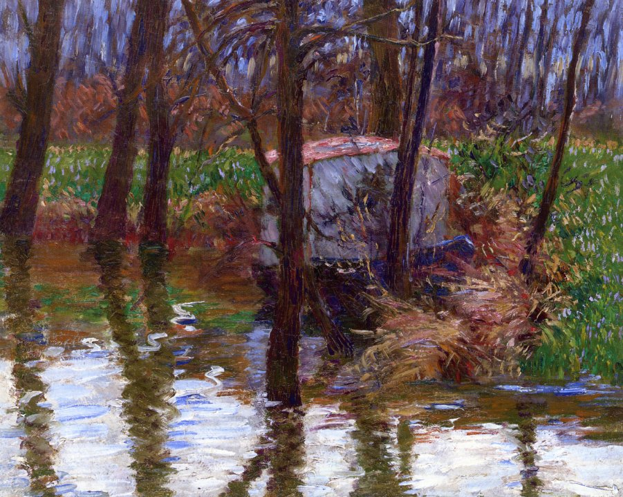 The River Epte with Monet's Aelier Boat 1887 1890 | John Leslie Breck | oil painting