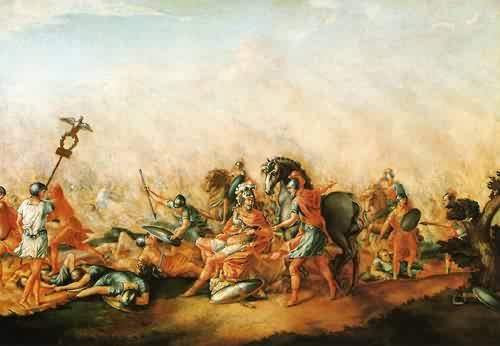 The Death of paulus Aemilius at the Battle of Cannae 1773 | John Trumbull | oil painting