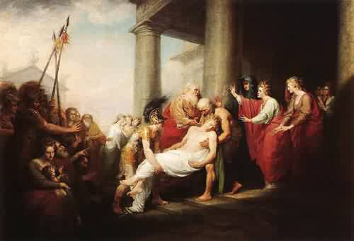 Priam Returning to His Family with the Dead Body of Hector 1785 | John Trumbull | oil painting