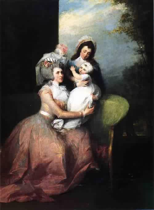 Mrs. John Barker Church Angelica Schuyler Son Philip and Servant 1785 | John Trumbull | oil painting
