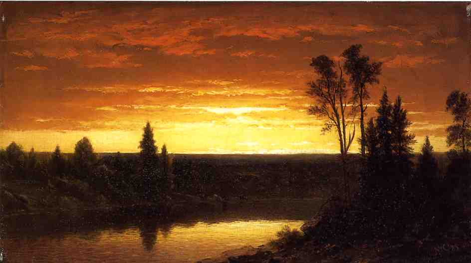 River Sunset View of the Catskills 1883 | John W. Casilear | oil painting