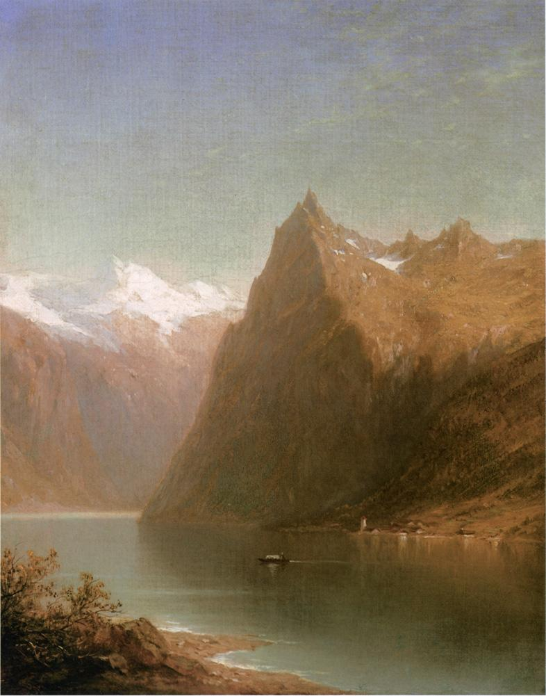 Mountain Lake Scene No dates listed   John W. Casilear   oil painting