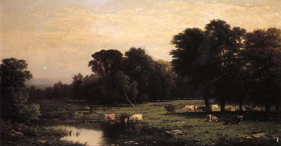 Bucolic Landscape with Cows 1888 | John W. Casilear | oil painting