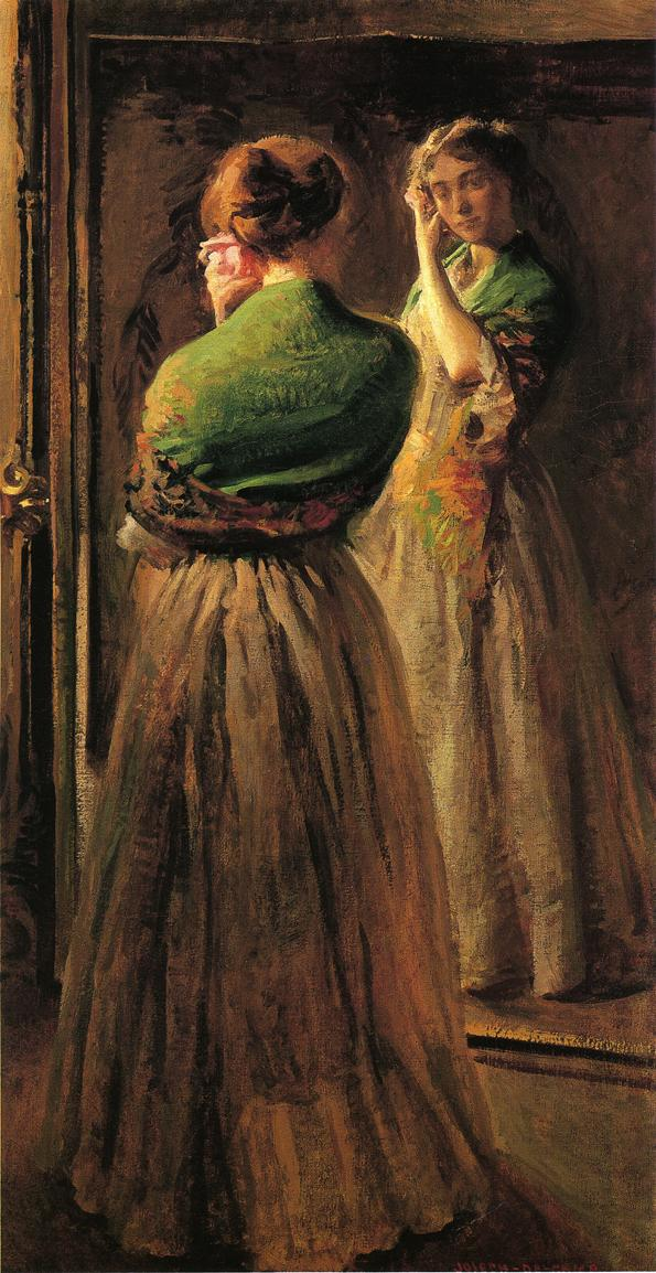 Girl with a Green Shawl 1900 | Joseph deCamp | oil painting
