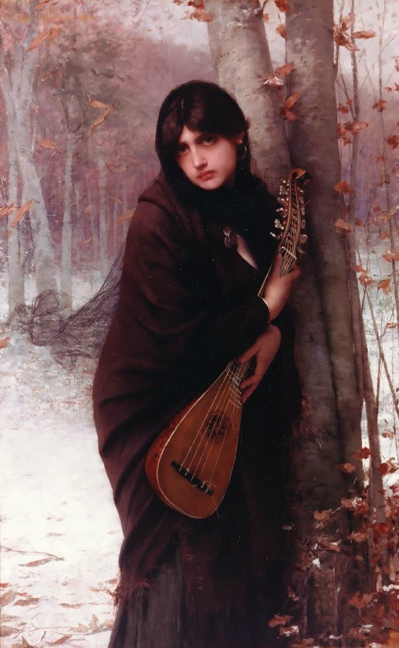 Girl with a Mandolin | Jules Joseph Lefebvre | oil painting