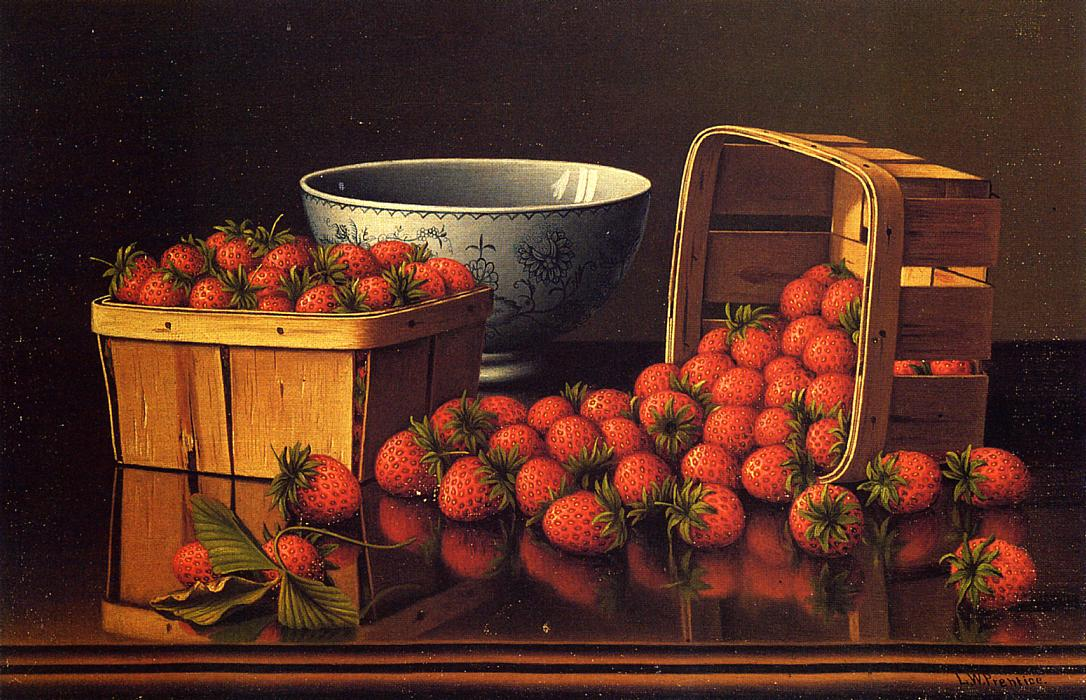 Strawberries with Porcelain Bowl Date unknown | Levi Wells Prentice | oil painting