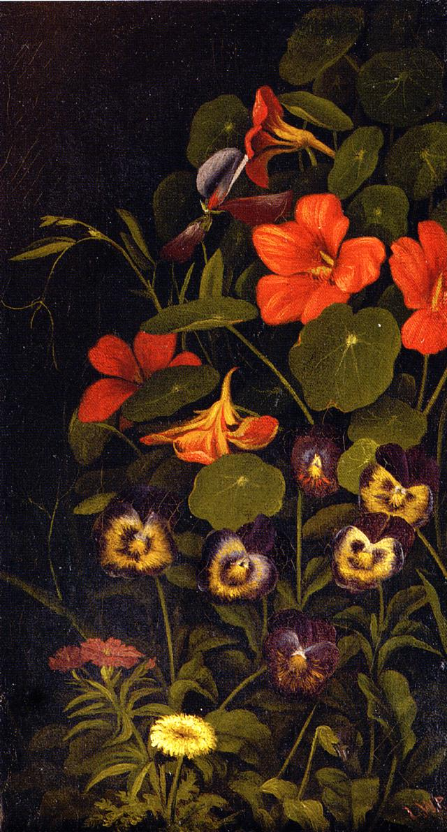 Pansies and Nasturtiums Date unknown | Levi Wells Prentice | oil painting