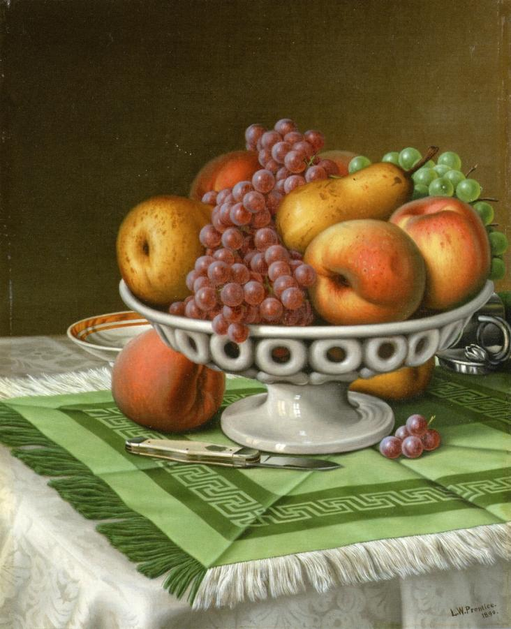 Still Life with Fruit and Pocket Knife 1890 | Levi Wells Prentice | oil painting