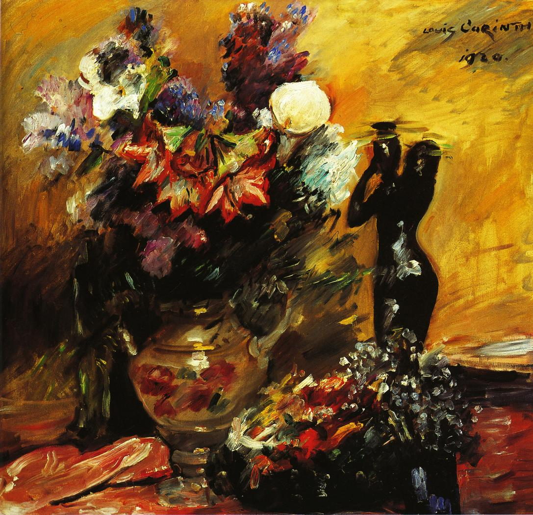 Cala lilies andn Lilacs with a Bronze Figurine | Lovis Corinth | oil painting