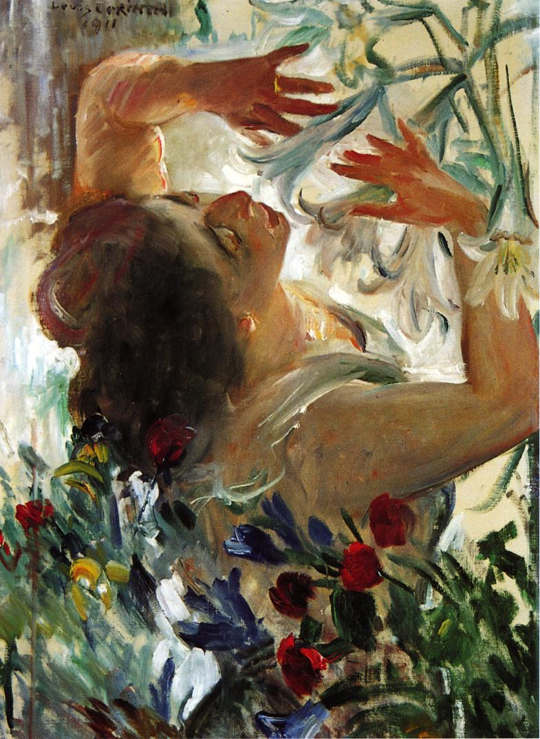 Woman with Lillies in a Greenhouse | Lovis Corinth | oil painting