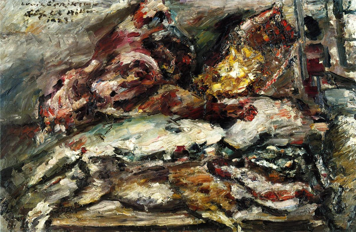 Meat and Fish at Hillers Berlin | Lovis Corinth | oil painting