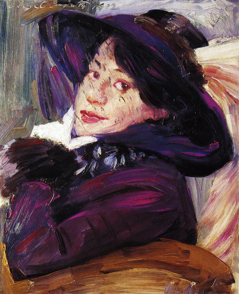 Portrait of a Woman in a Purple Hat | Lovis Corinth | oil painting