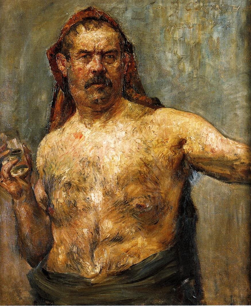 Self Portrait with a Glass | Lovis Corinth | oil painting