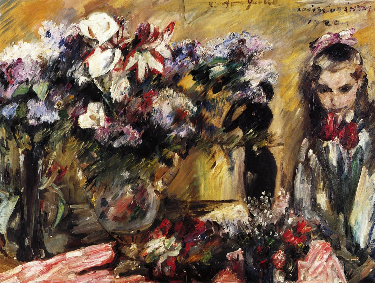 Flowers and Wilhelmine | Lovis Corinth | oil painting