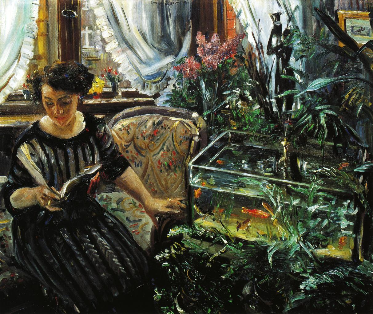 Woman by a Goldfish Tank | Lovis Corinth | oil painting