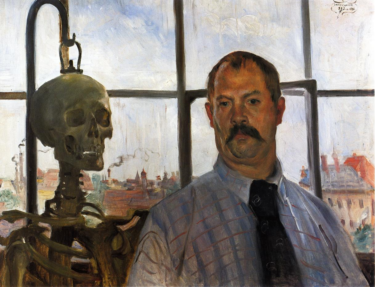 Self Portrait with Skeleton | Lovis Corinth | oil painting